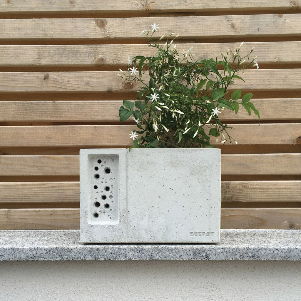 Beepot bee hotel and concrete planter
