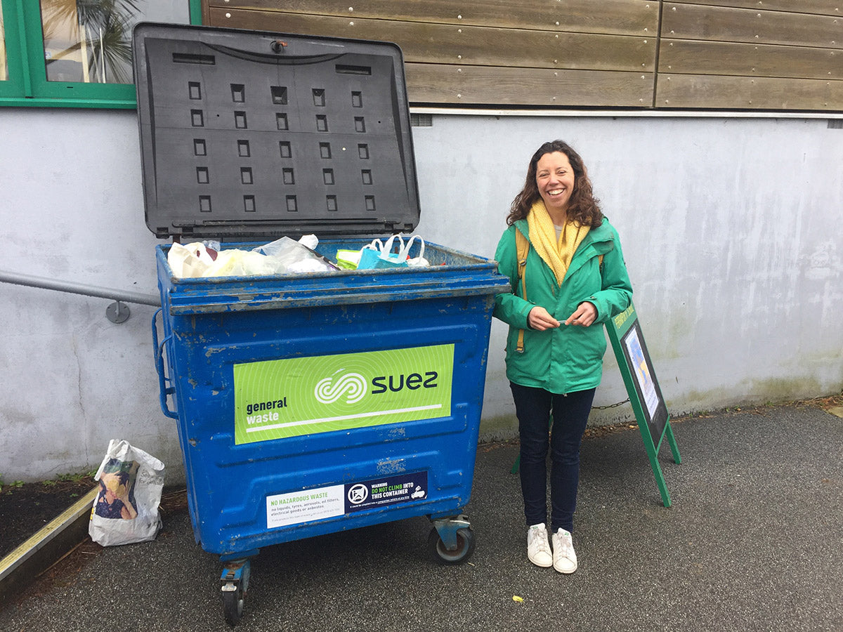 Full bin at litter pick with faye from Green&Blue