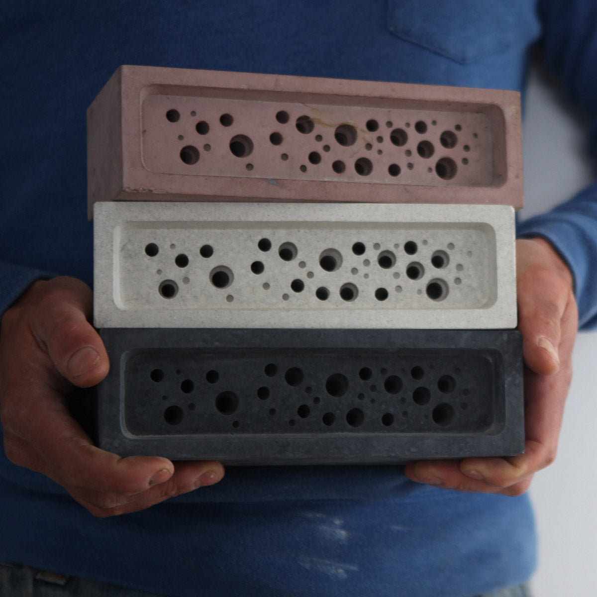 Stack of bee brick solitary bee houses for fathers day competition