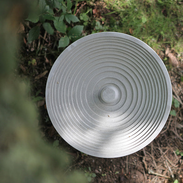 modern birdbath against wildlife friendly planting