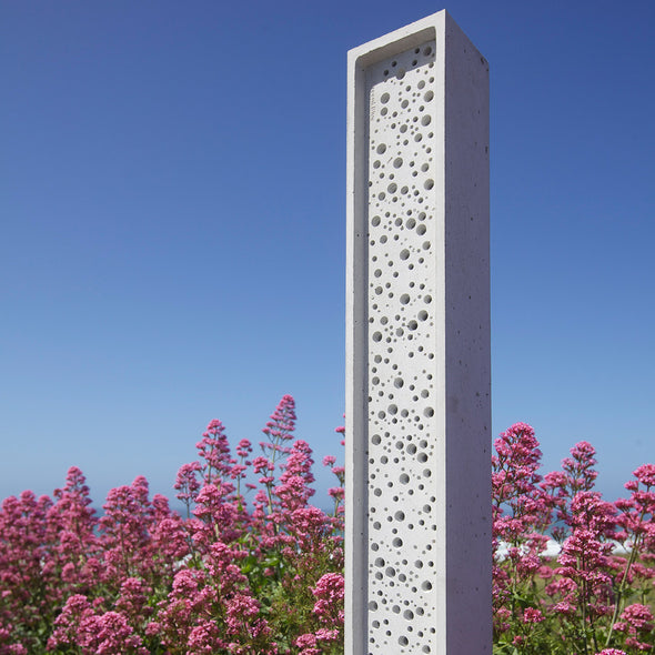 beepost in wildflower pink planting