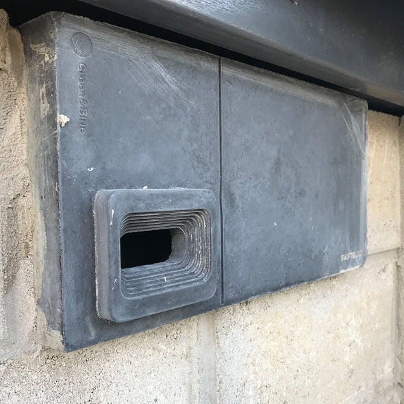 swift block swift box in charcoal installed in block wall