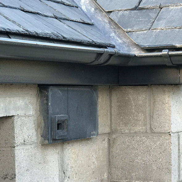 swift block swift box installed in block wall in charcoal