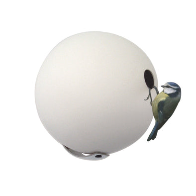 bluetit on white birdball birdhouse by green and blue