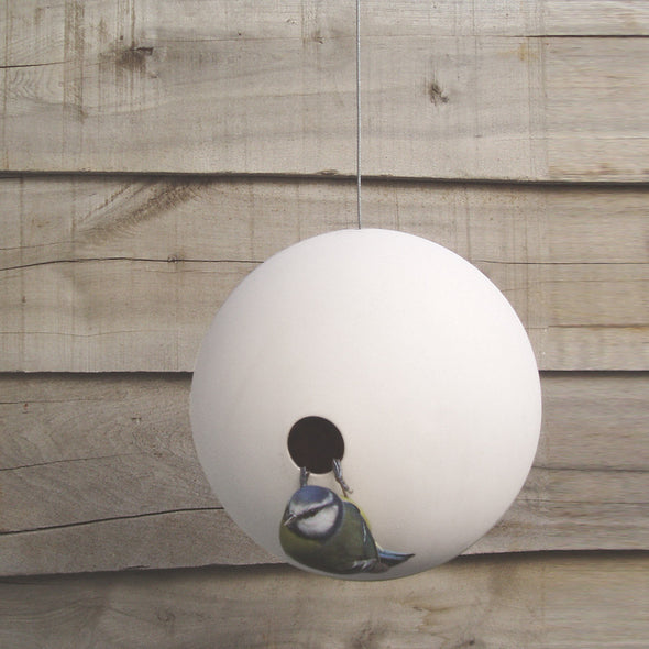 stylish birdball birdhouse for small garden birds with nesting blue tit