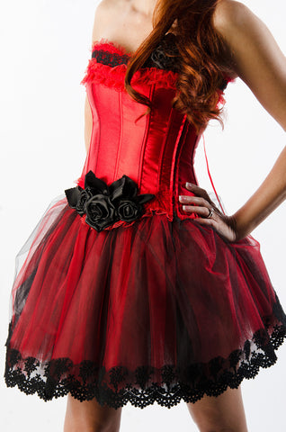Red and Black Roses Dress