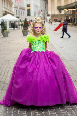 "Custom Gown ""Green Purple Hummingbird"""