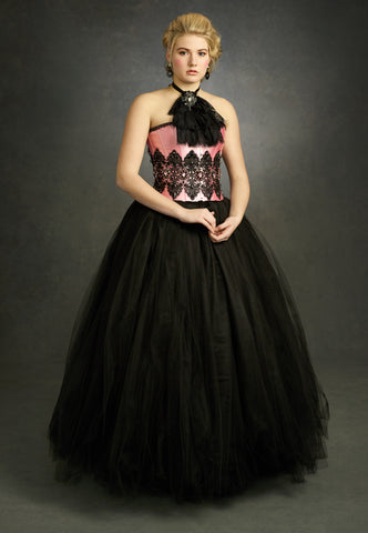 Victorian-Inspired Black and Pink Gown