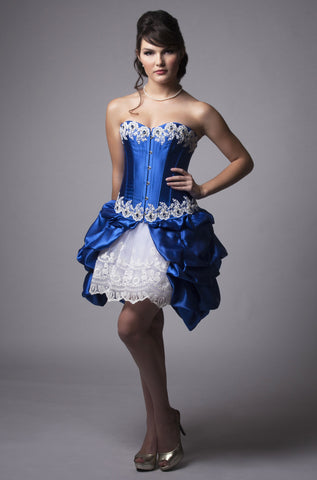 Size Small of Sapphire Lace Corset Dress
