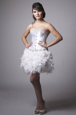 Size Small White Feather Crystal Dress