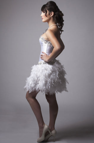 White Feather Crystal Dress
