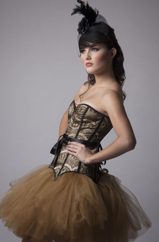 Golden Dress With Black Lace