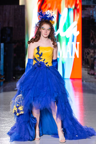 "Custom Gown ""Yellow Blue Macaw"""