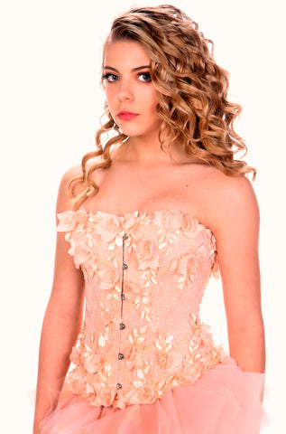 Peach Hand-embroidered Gown.