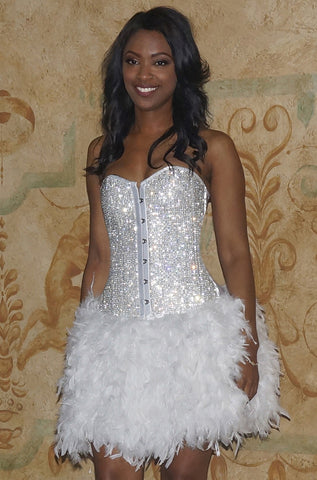 Size Medium of Crystal Corset Feather Dress