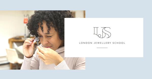 London Jewellery School student studying gemstones in the London Jewellery School 10th birthday celebration post