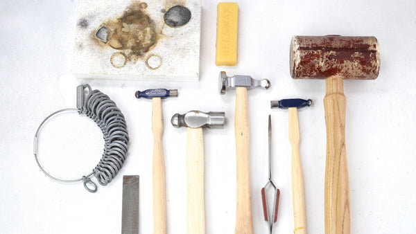 a selection of silver jewellery tools on london jewellery school