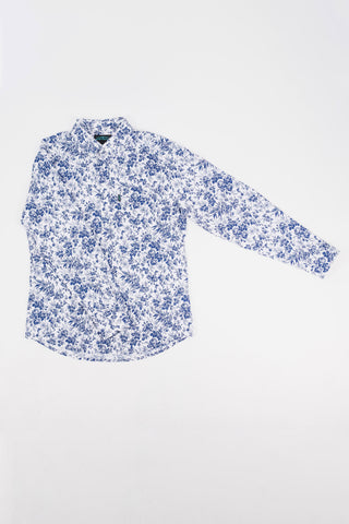 Bryant Stretch Print Long Sleeve Shirt (Ice White)