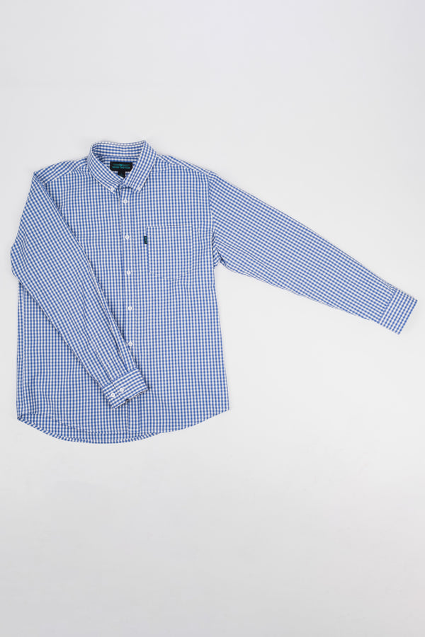 Mays Stretch Plaid Long Sleeve Shirt (Sky Blue )
