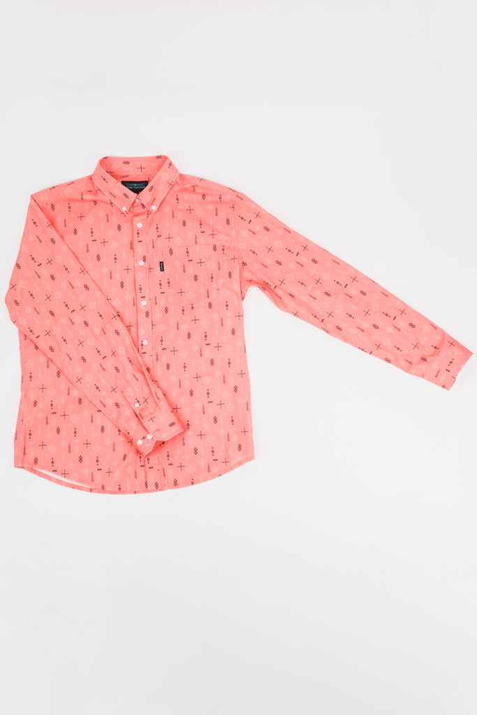 Rickey Stretch Print Long Sleeve Shirt (Living Coral)