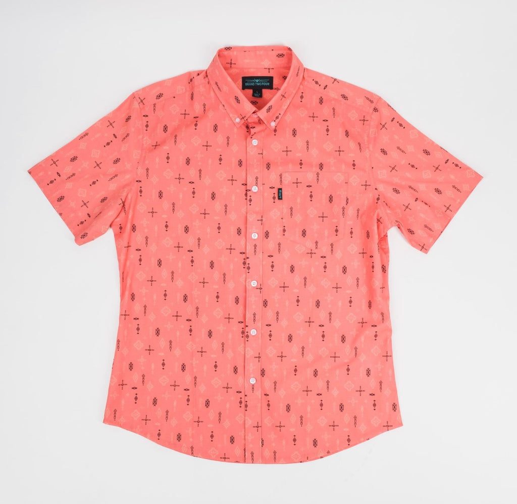 Rickey Button-down Short Sleeve Shirt (Living Coral)