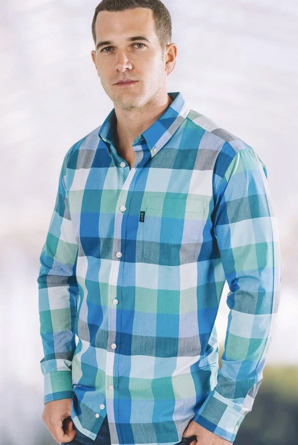 Manny Stretch Plaid Long Sleeve Shirt (Bright Turquoise)