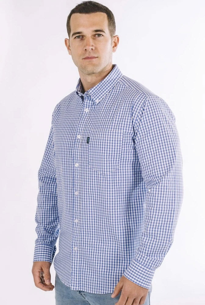 Mays Stretch Plaid Long Sleeve Shirt (Sky Blue)