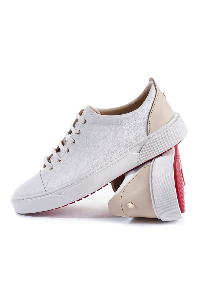 Creuzot (White) w/Red Luxe Sole