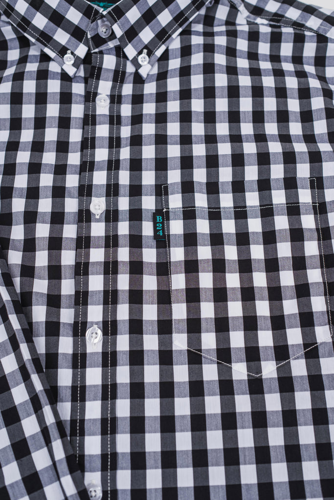 Woodson Stretch Plaid Long Sleeve Shirt (Black/White Check)