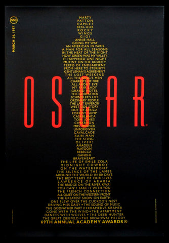 69th Annual Academy Awards one sheet 1997
