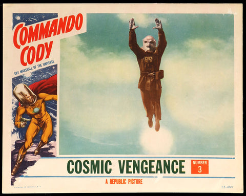 Commando Cody lobby card 1953 flying rocket man
