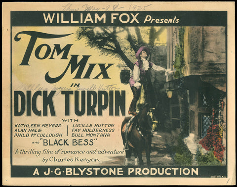 Dick Turpin title card Tom Mix 1925