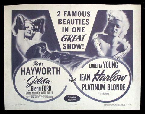 Gilda Platinum Blonde half sheet Rita Hayworth Jean Harlow