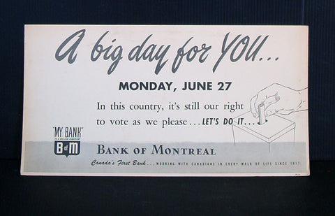 Bank of Montreal 1949 election trolley card