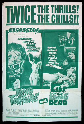 Tomb of Torture, Cave of the Living Dead one sheet 1966 horror