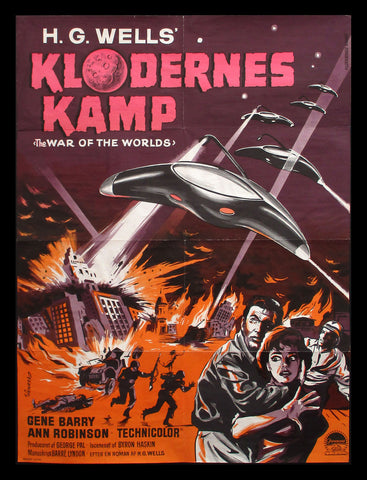 War of the Worlds Danish movie poster H.G. Wells George Pal