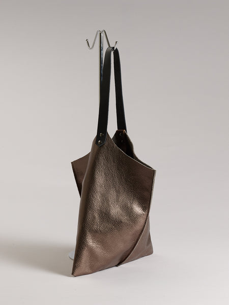 Wedge bag - Bronze metallic leather