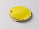 Lemon yellow leather circular cable case