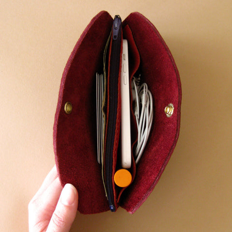 Pocketbook wallet - Port burgundy leather