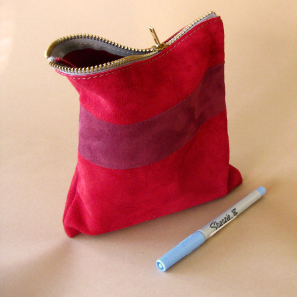 Zipper pouch - Red suede number 3