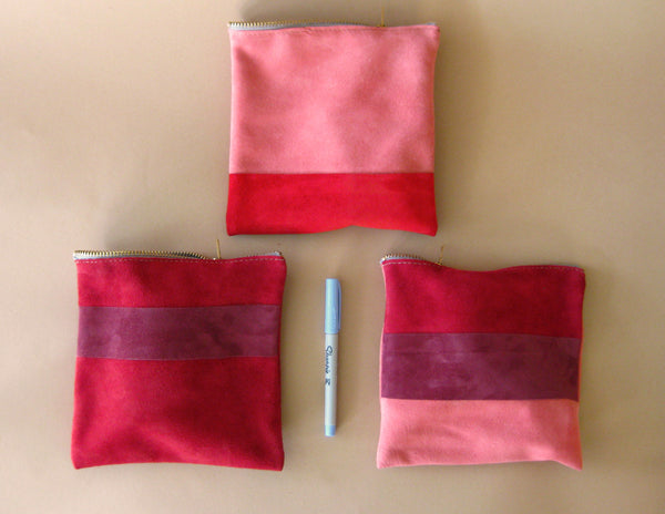 Zipper pouch - Red suede number 1