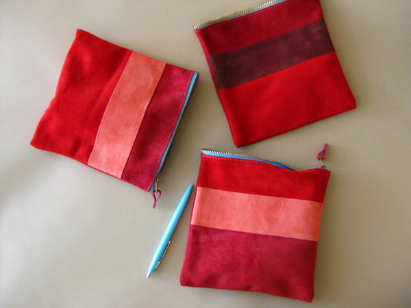 Zipper pouch - Red suede number 4