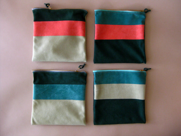 Zipper pouch - Green suede number 5
