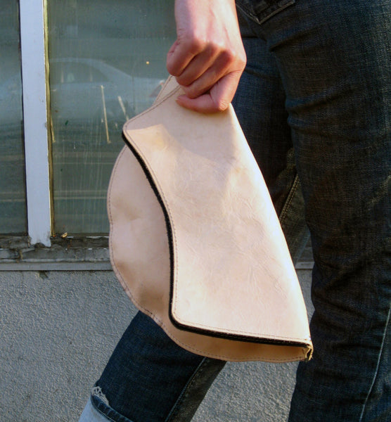 Petal Clutch - Natural veg tanned leather