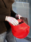 Petal Clutch - Coral red hair-on leather