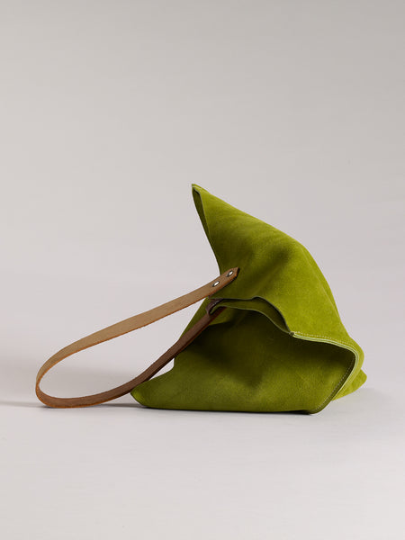 Wedge bag -  Leaf green suede