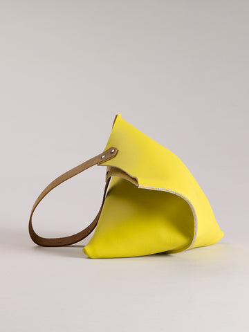 Wedge bag - Lemon yellow leather