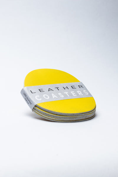 Leather Coaster set - 6 coasters in Lemon yellow