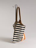 Wedge bag - Natural veg tanned leather with painted graphic stripes