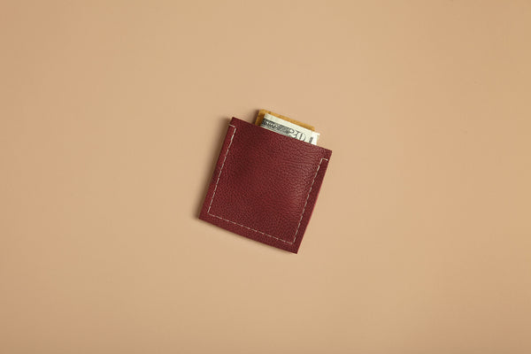 Square slim wallet - True black leather
